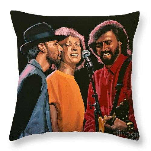 The Bee Gees Throw Pillow featuring the painting The Bee Gees by Paul Meijering