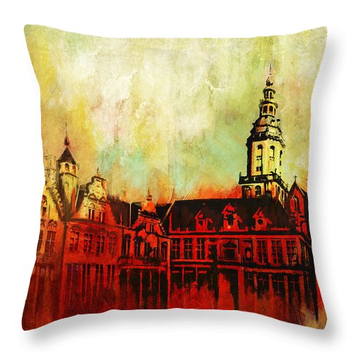 Western Ghats Throw Pillow featuring the painting The Belfries Of Belgium And France by Catf