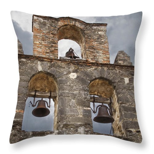 Arches Throw Pillow featuring the photograph The Bells Of Espada by David and Carol Kelly