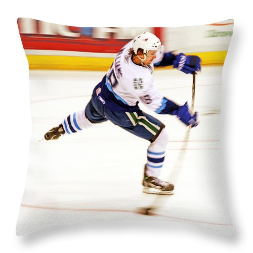Hockey Throw Pillow featuring the photograph The Bend by Karol Livote