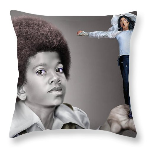 Young Michael Jackson Throw Pillow featuring the painting The Best Of Me - Handle With Care - Michael Jacksons by Reggie Duffie