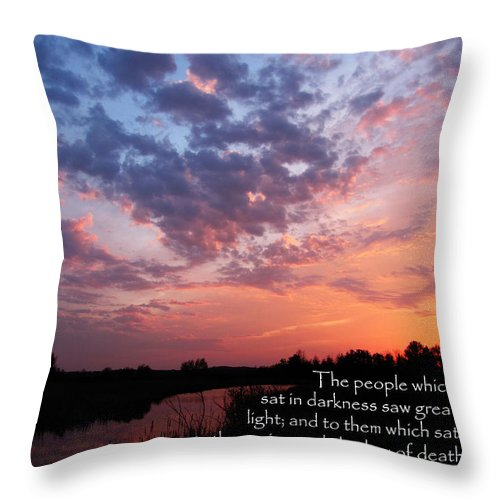 Jesus Christ Throw Pillow featuring the photograph The Bible Matthew 4 by Ron Tackett