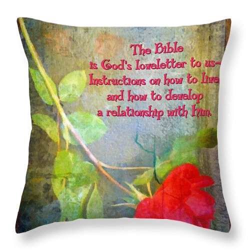Jesus Throw Pillow featuring the digital art The Bible by Michelle Greene Wheeler