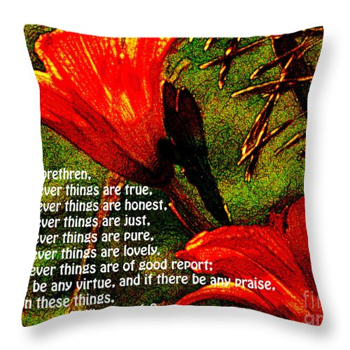 Jesus Christ Throw Pillow featuring the photograph The Bible Philippians 4 by Ron Tackett