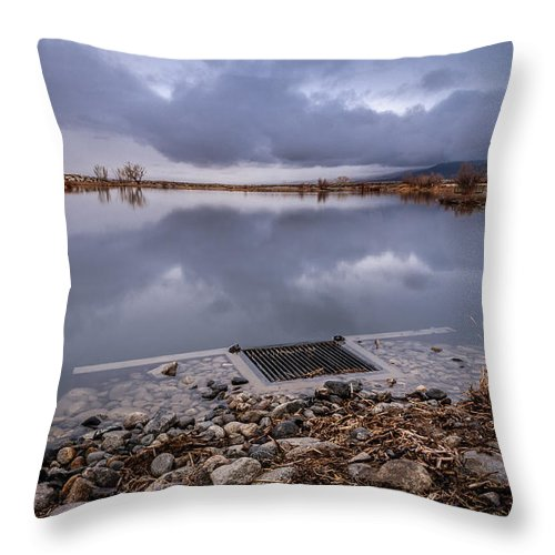Pond Throw Pillow featuring the photograph The Big Drain by Cat Connor