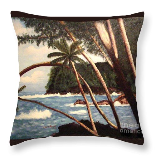 Hawaii Throw Pillow featuring the painting The Big Island by Laurie Morgan