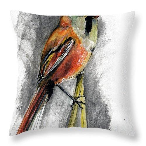 Bird Throw Pillow featuring the painting The Bird by Angel Ciesniarska