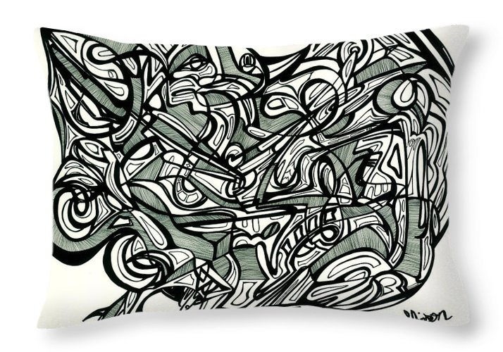 Abstract Throw Pillow featuring the drawing The Black And White Truth Is America Is Backwards by Lakey Hinson