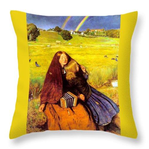 John Everett Milais Throw Pillow featuring the digital art The Blind Girl by John Everett Millais