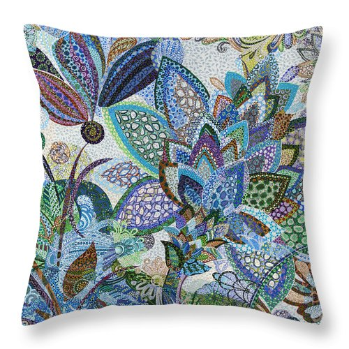 Nature Throw Pillow featuring the painting The Blue Flower by Erika Pochybova