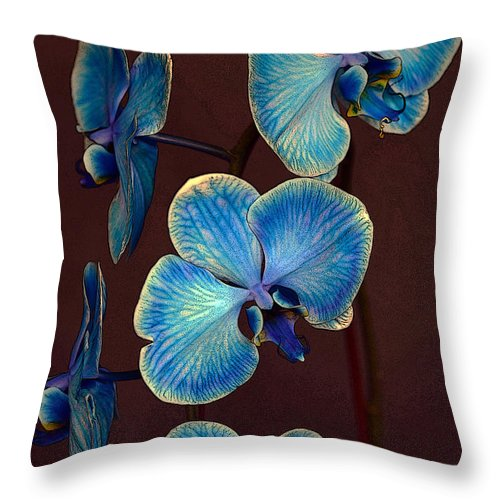 Blue Throw Pillow featuring the photograph The Blue Orchid by Dragan Kudjerski