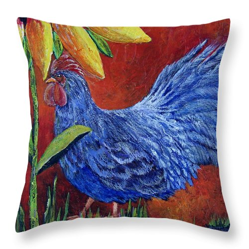 Rooster Throw Pillow featuring the painting The Blue Rooster by Suzanne Theis