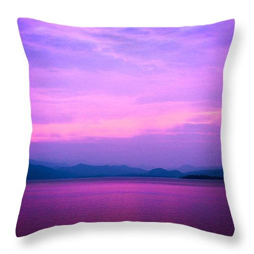 Blue Throw Pillow featuring the photograph The Blue Sky And River by Jarernjit Tanomchit