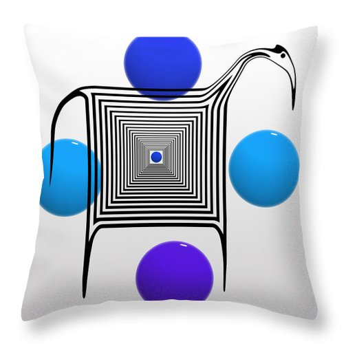 Zebra Throw Pillow featuring the painting The Blue Zebra by Charles Stuart