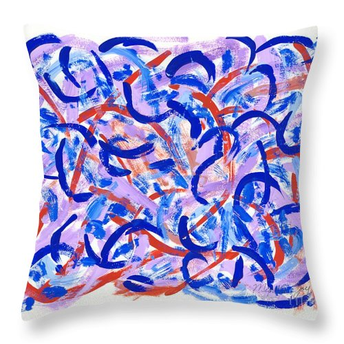 Abstract Throw Pillow featuring the painting The Blueberry Patch by Myrtle Joy