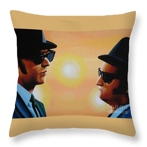 The Blues Brothers Throw Pillow featuring the painting The Blues Brothers by Paul Meijering