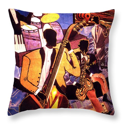 Everett Spruill Throw Pillow featuring the painting The Blues People by Everett Spruill