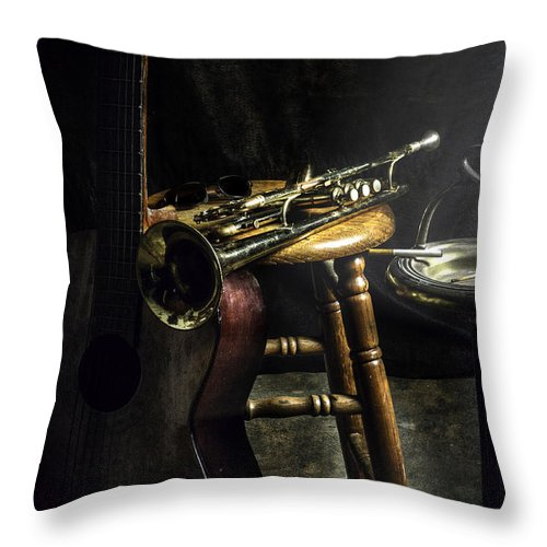 Guitar Throw Pillow featuring the photograph The Blues Player by Camille Lopez
