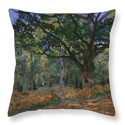 1865 Throw Pillow featuring the painting The Bodmer Oak by Claude Monet