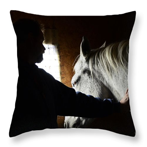 Horse Throw Pillow featuring the photograph The Bond by Bob Christopher