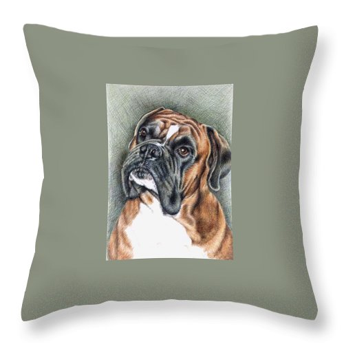 Dog Throw Pillow featuring the drawing The Boxer by Nicole Zeug