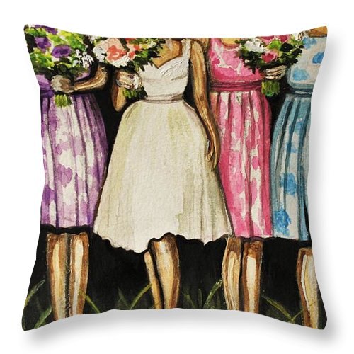 Bride Throw Pillow featuring the painting The Bride And Her Bridesmaids by Elizabeth Robinette Tyndall