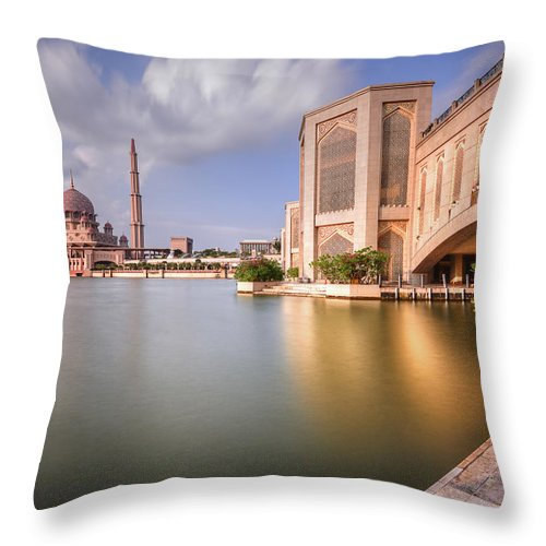 Tranquility Throw Pillow featuring the photograph The Bridge And The Mosque by Khasif Photography