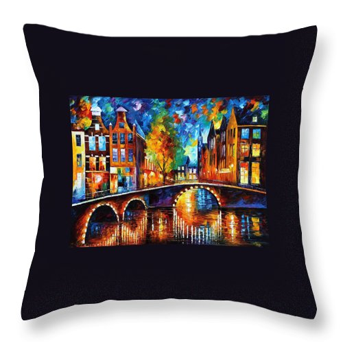 Oil Paintings Throw Pillow featuring the painting The Bridges Of Amsterdam - Palette Knife Oil Painting On Canvas By Leonid Afremov by Leonid Afremov