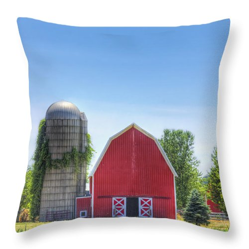 Barn; Silo; Farm; Field; Corn; Blue; Red; Green; Bright; Vibrant; Saturate; Saturated; Colors; Colours; Colorful; Ivy; Leaves; Pristine; Toy; Door; Fence; Pretty; Sky; Place; Rural; Open; Land; Landscape; Trees; Growth; Surreal Throw Pillow featuring the photograph The Bright Farm by Margie Hurwich