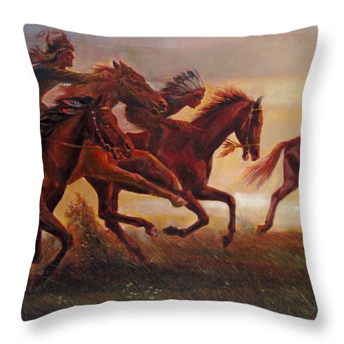 Horse Throw Pillow featuring the painting The Bright Lure Of Freedom by Svitozar Nenyuk