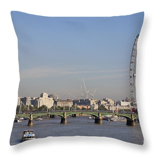 London Throw Pillow featuring the photograph The British Airways London Eye And Westminster Bridge In London England by Robert Preston