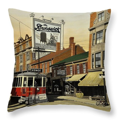 Toronto Throw Pillow featuring the painting The Brunswick 1916 by Kenneth M Kirsch