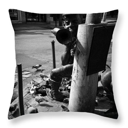 Statue Throw Pillow featuring the photograph The Bugler by Brian Archer