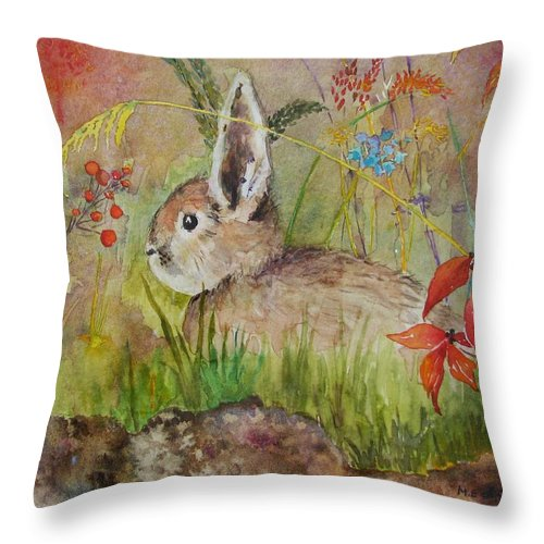 Nature Throw Pillow featuring the painting The Bunny by Mary Ellen Mueller Legault