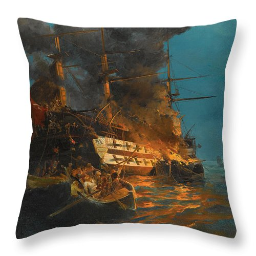 Konstantinos Volanakis Throw Pillow featuring the painting The Burning Of A Turkish Frigate by Konstantinos Volanakis