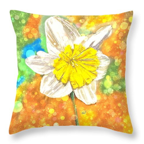 Ipad Throw Pillow featuring the painting The Buzzing Life Of A Spring Narcissus by Angela Stanton