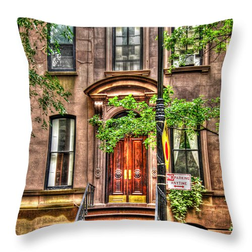 Sex And The City Throw Pillow featuring the photograph The Carrie Bradshaw Stoop From Sex And The City by Randy Aveille