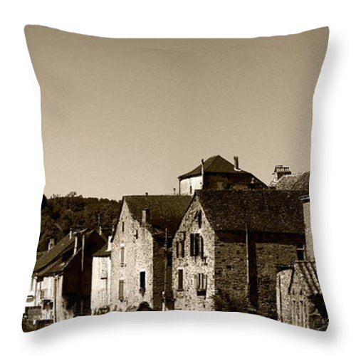 Najac Throw Pillow featuring the photograph The Castle Above The Village Panorama In Sepia by Weston Westmoreland