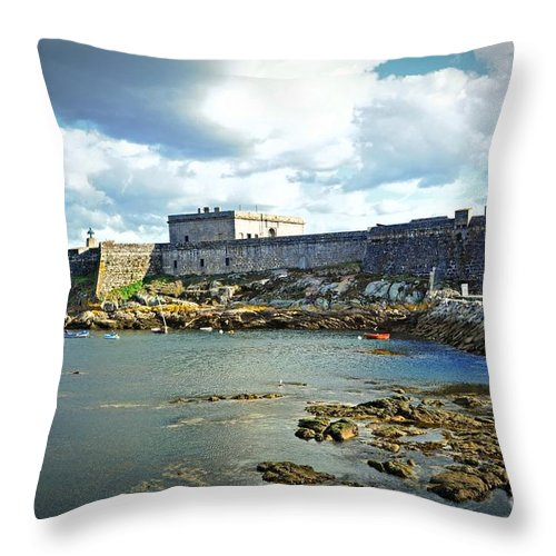 The Fort On The Harbor Throw Pillow featuring the photograph The Castle Fort On The Harbor by Mary Machare