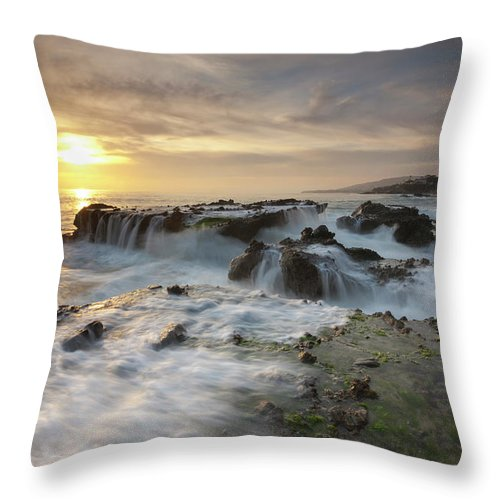 Scenics Throw Pillow featuring the photograph The Cauldron - Victoria Beach by Images By Steve Skinner Photography