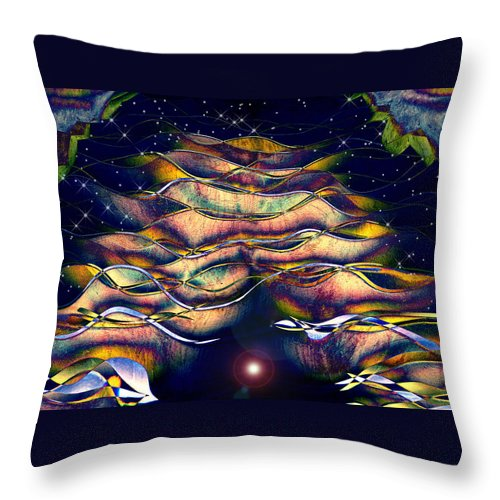 Abstract Throw Pillow featuring the digital art The Cave Dweller by Wendy J St Christopher