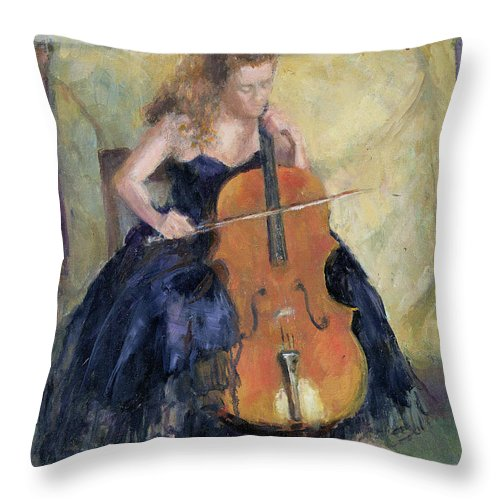 Cello Throw Pillow featuring the painting The Cello Player, 1995 by Karen Armitage