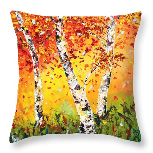 Autumn Throw Pillow featuring the painting The Change by Meaghan Troup