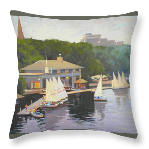 Sail Boats Throw Pillow featuring the painting The Charles River Sailing Club by Dianne Panarelli Miller
