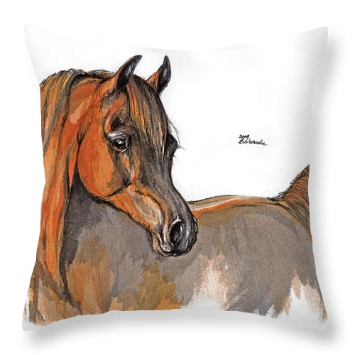 Chestnut Horse Throw Pillow featuring the painting The Chestnut Arabian Horse 2a by Angel Ciesniarska
