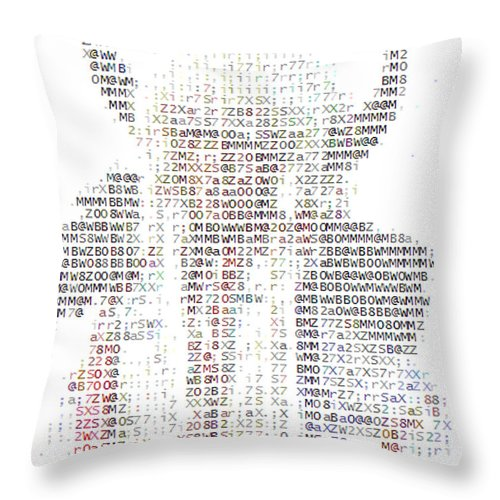 Native American Indian Head Dress Photo In Text Type Font Ascii Buffalo Hat Horns Costume Bison Hunter Chief Aboriginal People First Nation Indigenous Peoples Throw Pillow featuring the photograph The Chief by Andrea Lawrence