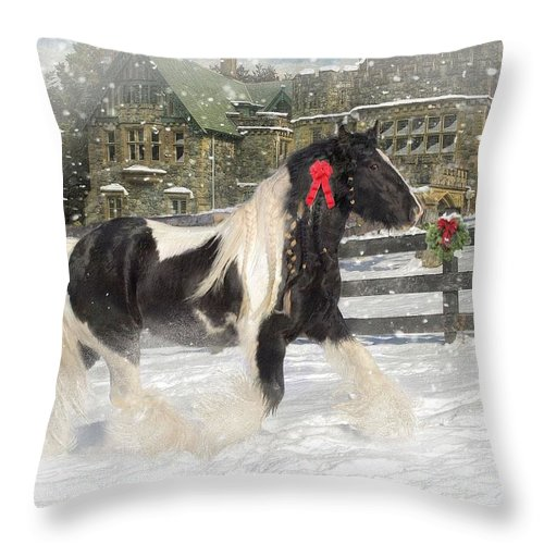 Christmas Throw Pillow featuring the mixed media The Christmas Pony by Fran J Scott