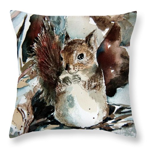 Squirrel Throw Pillow featuring the painting The Christmas Sweet by Mindy Newman