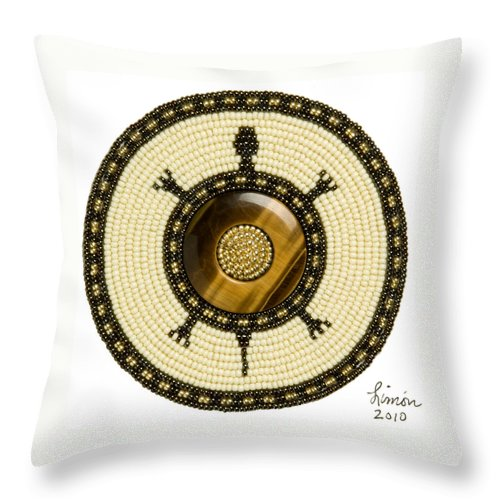 Beadwork Throw Pillow featuring the mixed media The Circle Turtle by Douglas K Limon