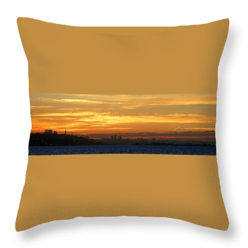 Panorama Throw Pillow featuring the photograph The City From Across The Bay by Robert Woodward